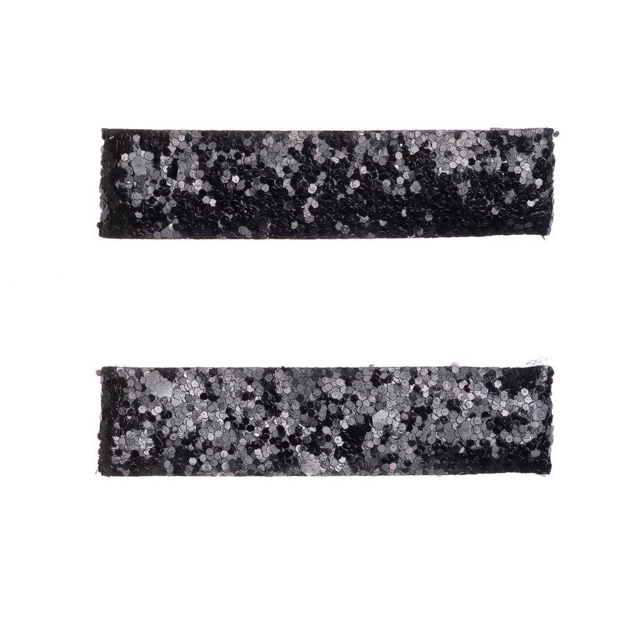 DARK Glitter Haarclips Large Black (2Stck.)
