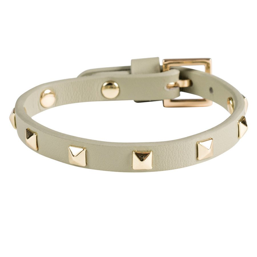 DARK Leather Stud Bracelet, Mini Faded Army With Gold