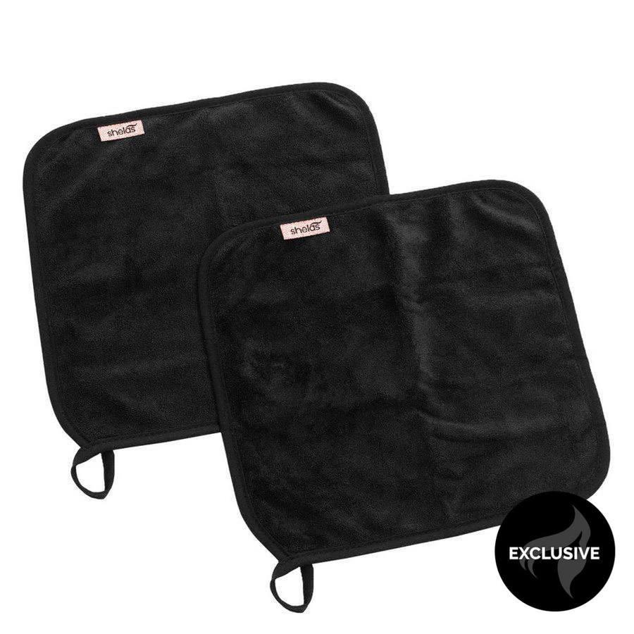 Shelas Makeup Eraser Towel Black 2 stk