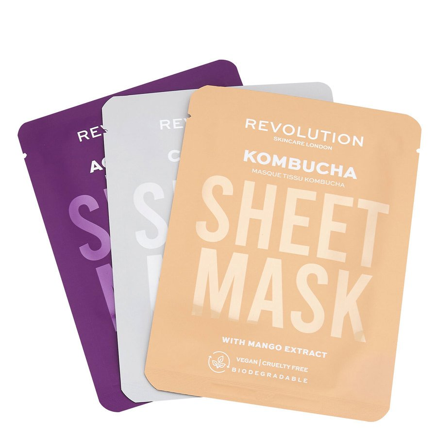 Revolution Beauty Revolution Skincare Biodegradable Combination Skin Sheet Mask 3St.