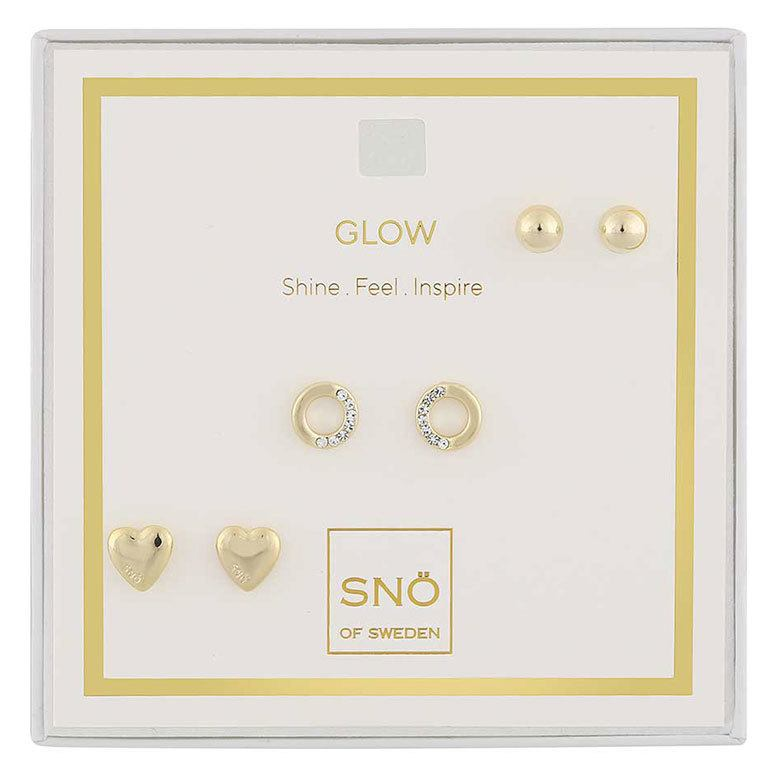 Snö Of Sweden Valentine Glow Earring Set, Gold / Clear
