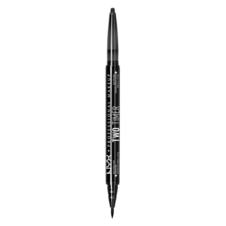 NYX Professional Makeup Two Timer Dual Ended Eye Liner, Jet Black