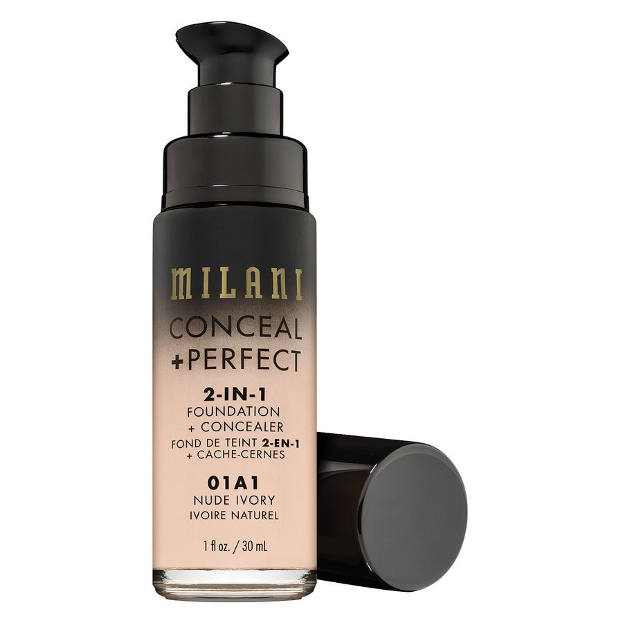 Milani Conceal & Perfect 2 In 1 Foundation + Concealer, Nude Ivory (30 ml)