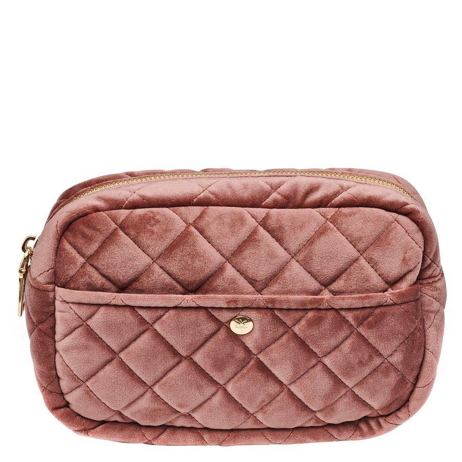 Fan Palm Beauty Bag Quilted Velvet Medium, Vintage Rose