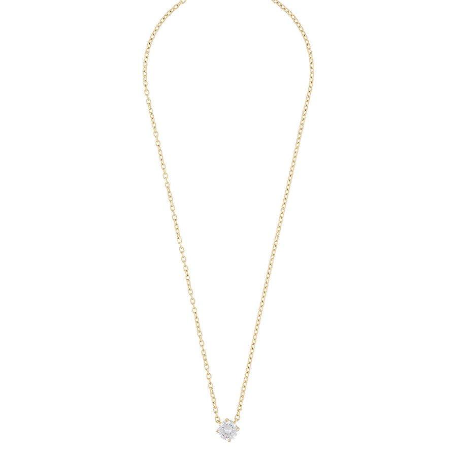 Snö Of Sweden Luire Stone Pendant Necklace, Gold/Clear 40 cm
