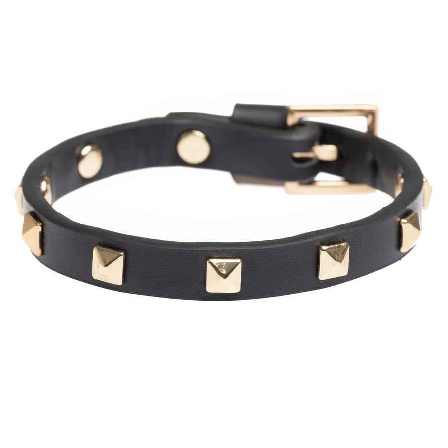 DARK Leather Stud Bracelet Mini, Black With Gold
