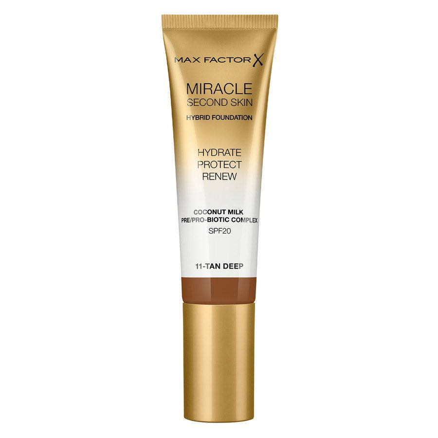 Max Factor Miracle Second Skin Foundation, #011 Tan/Deep (33 ml)