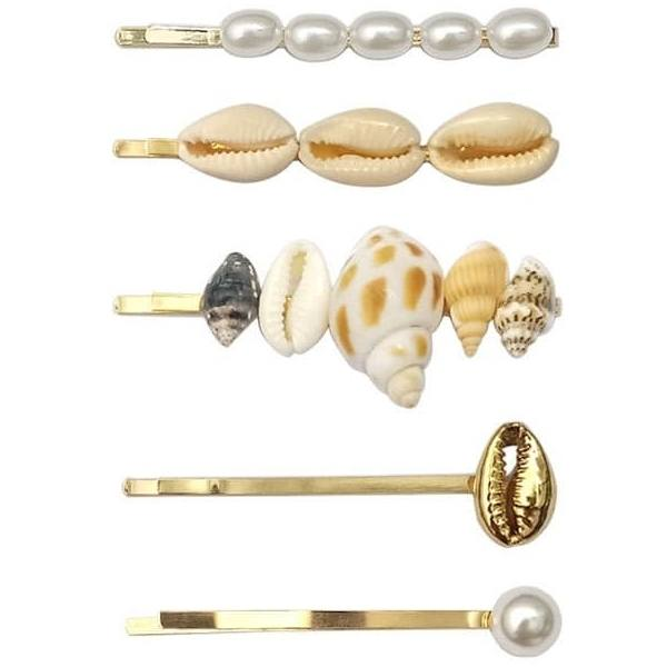 Hairpin seashell, 03 Gold and Pearls