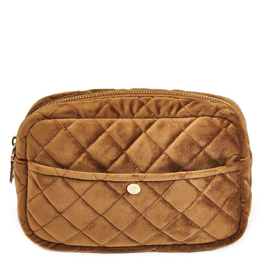 Fan Palm Beauty Bag Quilted Velvet Medium, Cognac