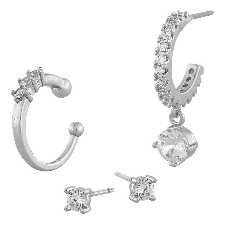 Snö Of Sweden Luire Cuff Earring Mix 1, Silver/Clear