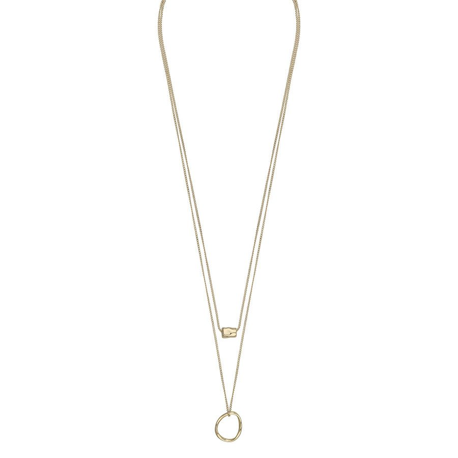Snö Of Sweden Charlize Double Necklace, Plain Gold (50 cm)