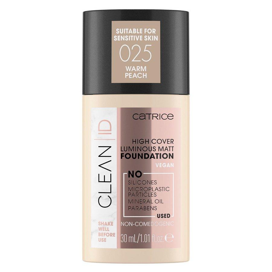 Catrice Clean ID High Cover Luminous Matt Foundation, 025 Warm Peach 30 ml