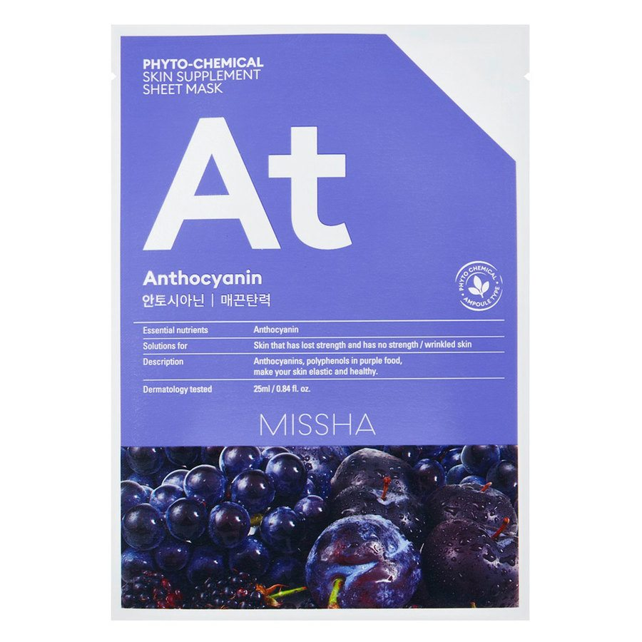 Missha Phytochemical Skin Supplement Sheet Mask, Anthocyanin (25 ml)
