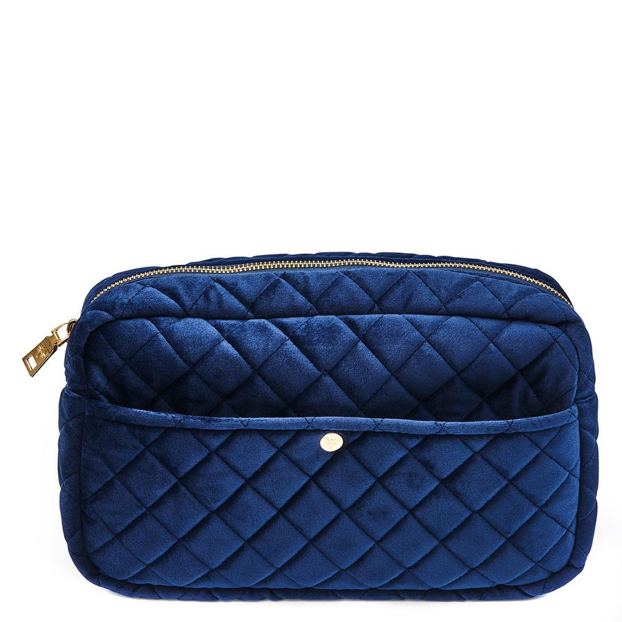 Fan Palm Beauty Bag Quilted Velvet Large, Midnight Blue