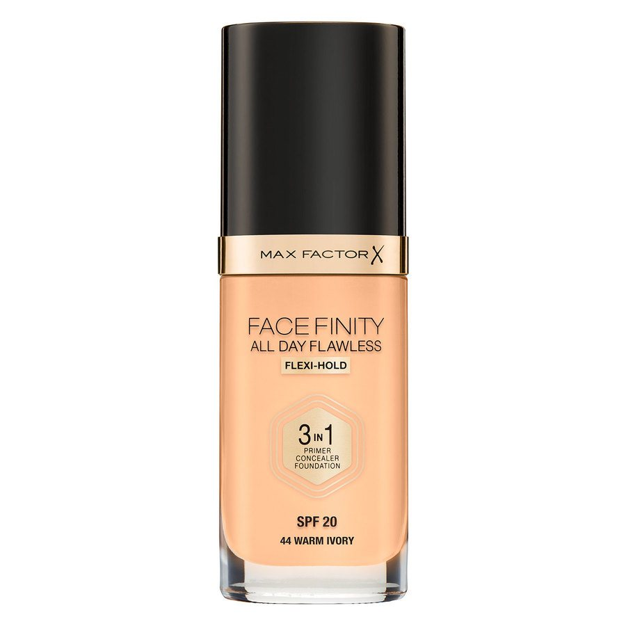 Max Factor Facefinity All Day Flawless 3-In-1 Foundation, #44 Warm Ivory (30 ml)