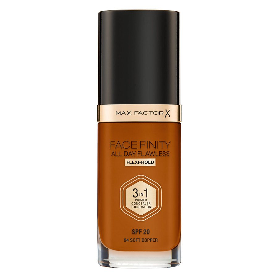 Max Factor Facefinity All Day Flawless 3-In-1 Foundation, C94 Soft Copper (30 ml)