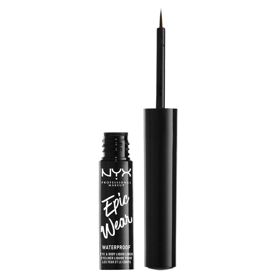 NYX Professional Makeup Epic Wear Semi Permanent Eye & Body Liquid Liner, Brown (1 ml)