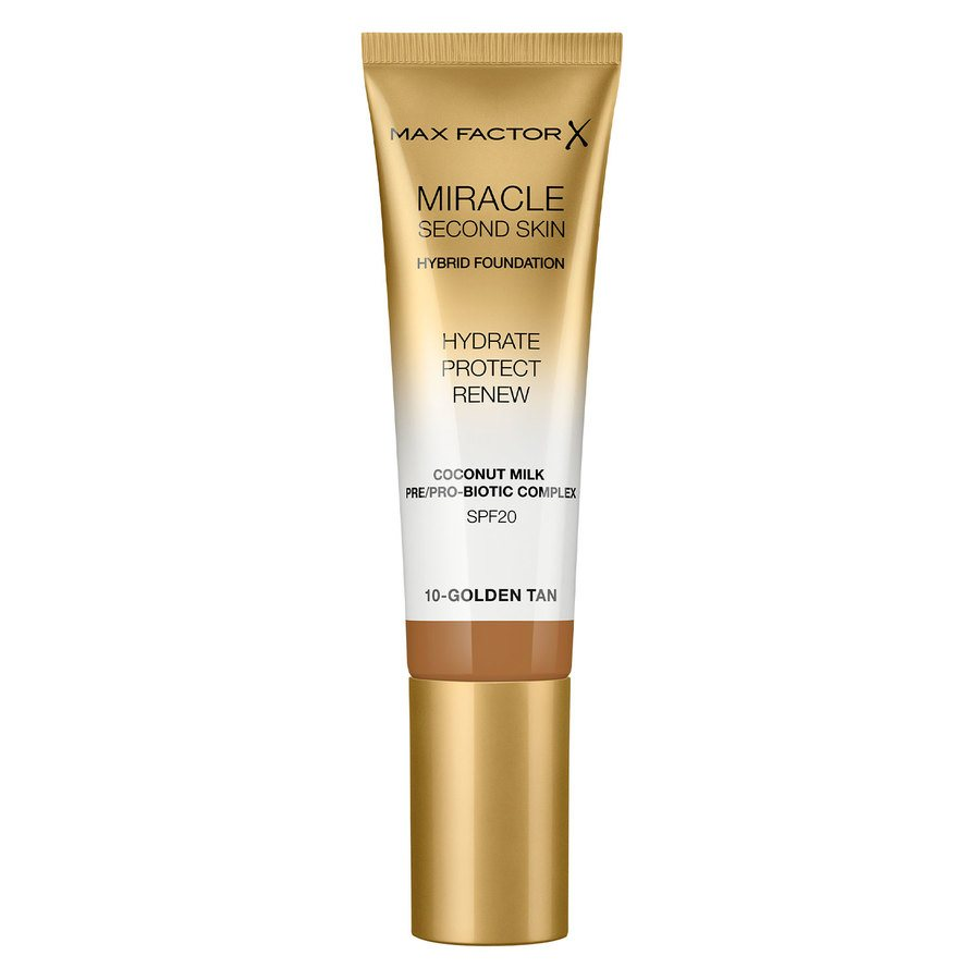 Max Factor Miracle Second Skin Foundation, #010 Golden Tan (33 ml)