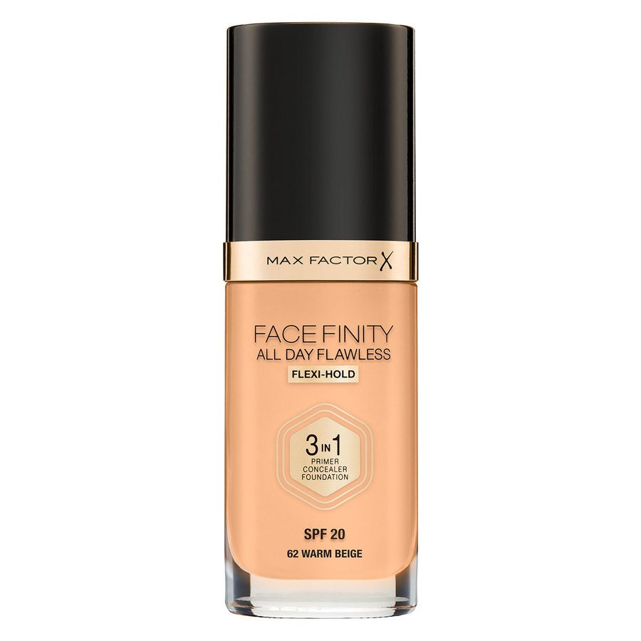 Max Factor Facefinity All Day Flawless 3-In-1 Foundation, W62 Warm Beige (30 ml)