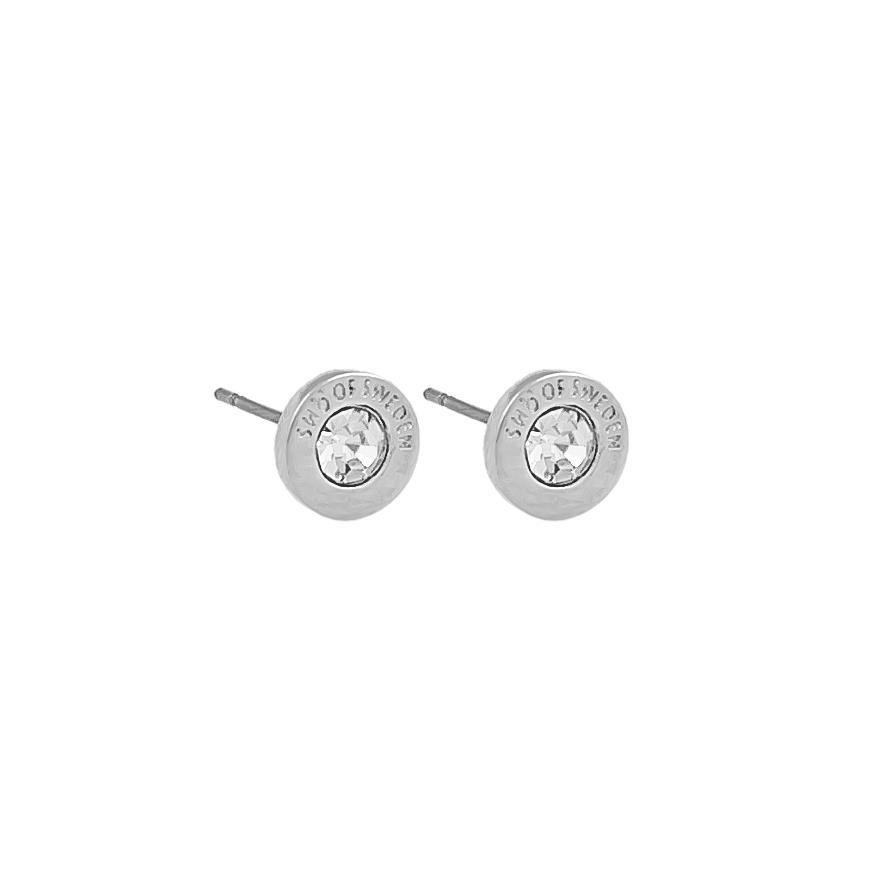 Snö Of Sweden Sence Small Coin Earring, Silver/Clear