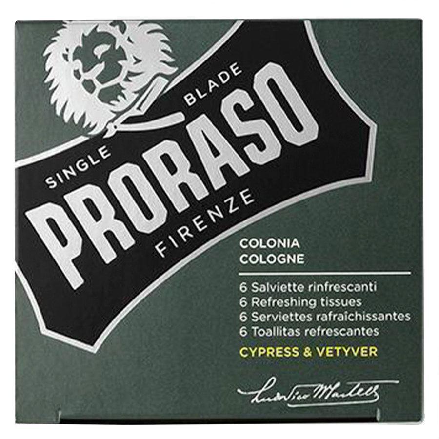 Proraso Beard Wipes, Cypress & Vetyver (6 Stück)