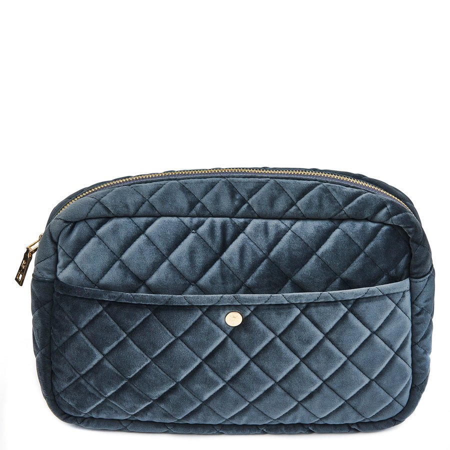 Fan Palm Beauty Bag Quilted Velvet Large, Smoke