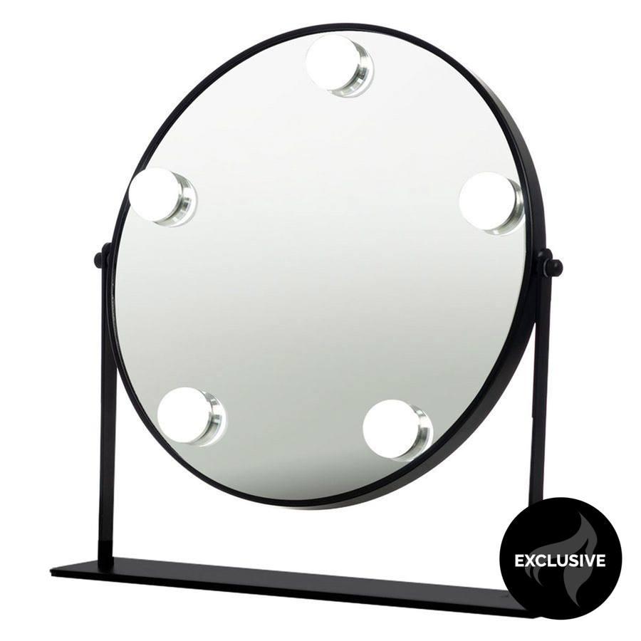 Shelas runder Hollywood-Spiegel mit 5 LEDs, schwarz