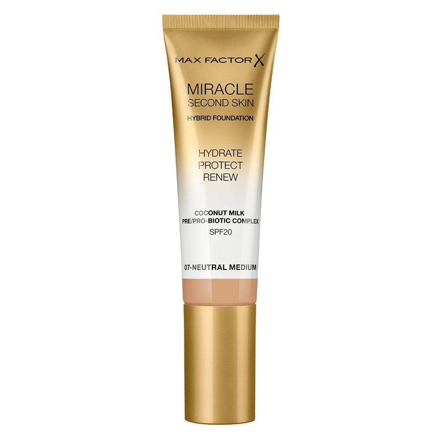 Max Factor Miracle Second Skin Foundation, #007 Neutral Medium (33 ml)