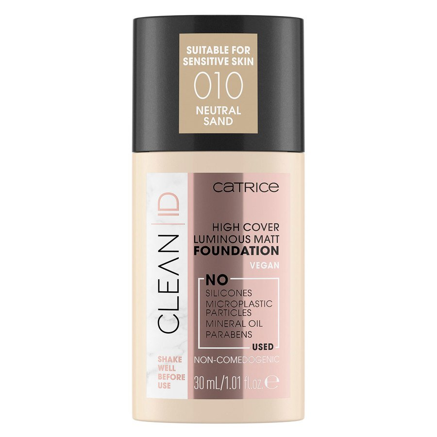 Catrice Clean ID High Cover Luminous Matt Foundation, 010 Neutral Sand 30 ml